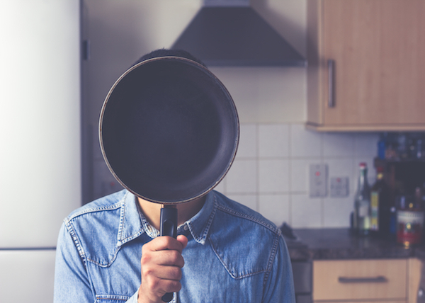 hide, frying pan, kitchen, man, funny, shy, domestic, home, house, cooking