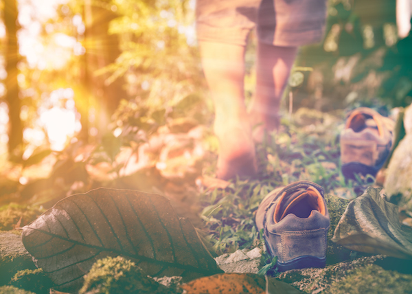 person takes off shoes to practice grounding in the woods
